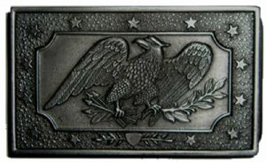 Civil War Belt Plate 1850 Belt Buckle with display stand. Code MJ8